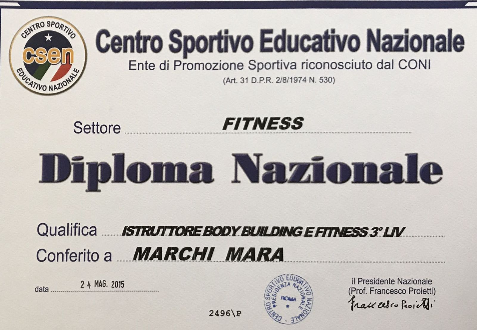 Istruttore body building e fitness 3° livello