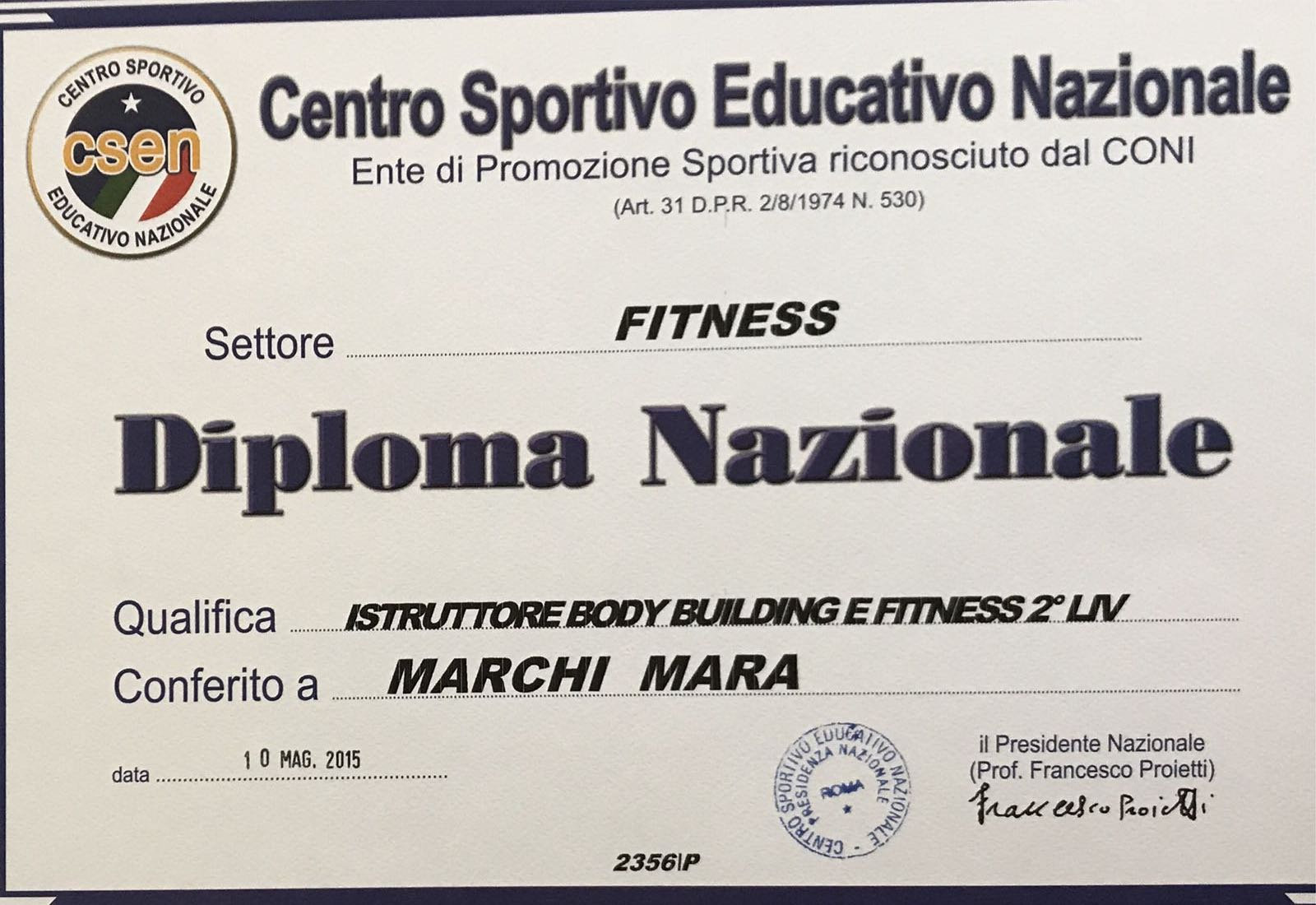Istruttore di Body building e fitness 2° livello