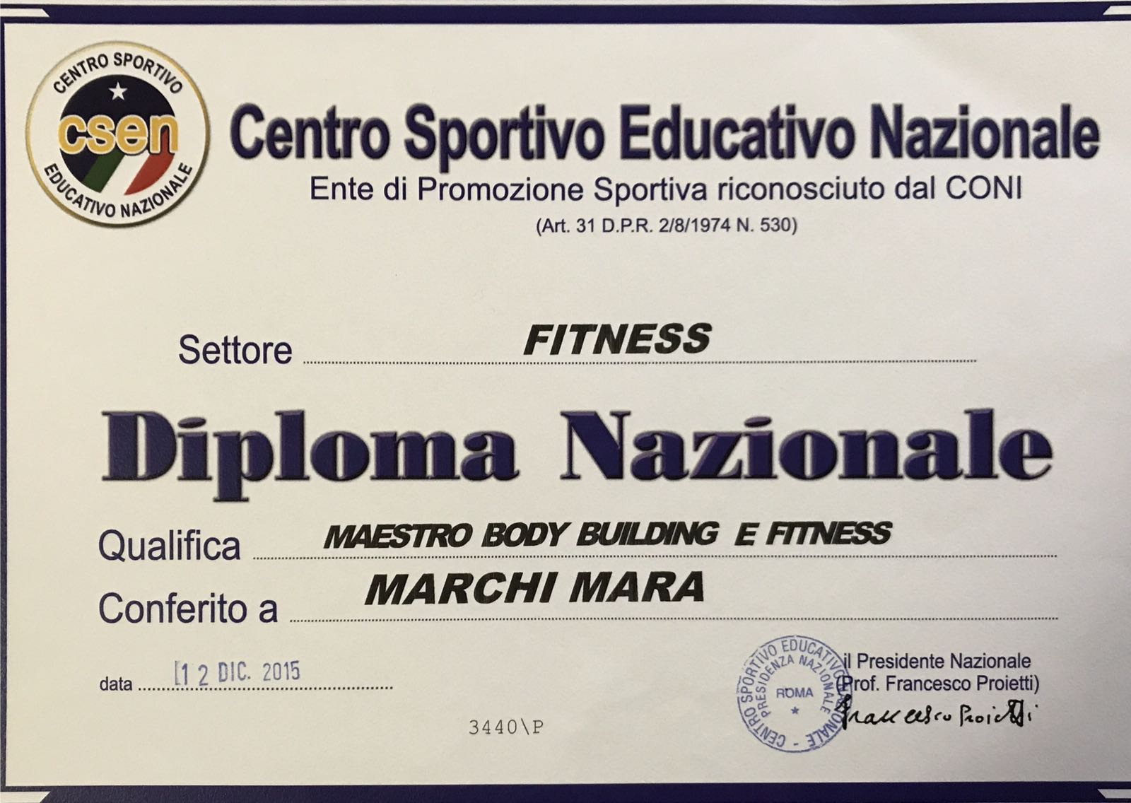 Maestro di Body Building e Fitness